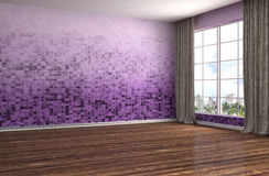 Interior with large window. 3d illustration Royalty Free Stock Image