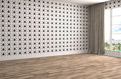 Interior with large window. 3d illustration Stock Photography