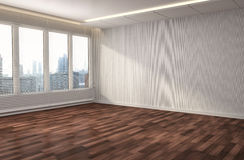 Interior with large window. 3d illustration Royalty Free Stock Photography