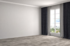 Interior with large window. 3d illustration Stock Photo