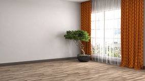 Interior with large window. 3d illustration Stock Photos