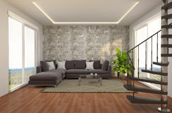 Interior with large window. 3d illustration Royalty Free Stock Photo