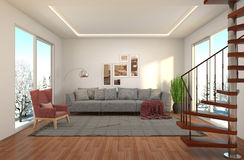 Interior with large window. 3d illustration Stock Images