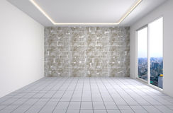 Interior with large window. 3d illustration Stock Image