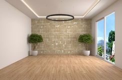 Interior with large window. 3d illustration Royalty Free Stock Photos