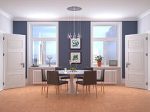 Interior with large windows and a dining table. 3d. Illustration Royalty Free Stock Image