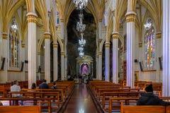 Interior of Las Lajas Sanctuary - Ipiales, Colombia. IPIALES, COLOMBIA - June 13, 2016: Interior of Las Lajas Sanctuary - Ipiales, Colombia royalty free stock images