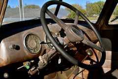 Interior of late 40`s Chevy pickup Royalty Free Stock Photography