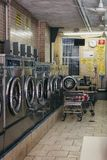 Interior of a laundromat in New York, USA royalty free stock images