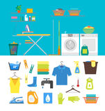 Interior Laundry Room with Furniture and Part Set. Vector Royalty Free Stock Photography