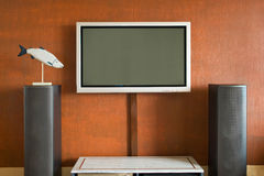 Interior with LCD television set. And acoustic systems Royalty Free Stock Images