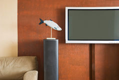 Interior with LCD television set. Interior with sofa and LCD television set Stock Photo