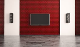 Interior with lcd and two speakers 3d Royalty Free Stock Photography