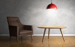 Interior with leather armchair, ceiling lamp and side table. 3d stock illustration