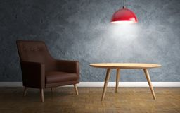 Interior with leather armchair, ceiling lamp and side table. 3d royalty free illustration