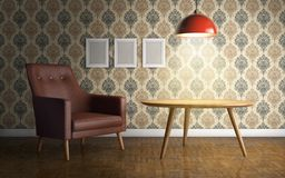 Interior with leather armchair, ceiling lamp and side table. 3d vector illustration