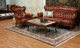 Interior with leather furniture Royalty Free Stock Images