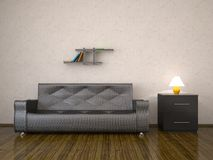 Interior with a leather sofa Royalty Free Stock Image