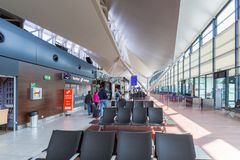Interior of Lech Walesa Airport terminal Stock Images