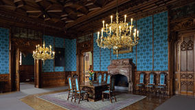 Interior of Lednice castle , Czech republic. Turquoise hall with wooden decorations in Neo gothic Lednice castle is one of the most visited monuments in Czech Stock Photography