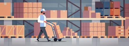 Interior levando de rolamento da sala do armazém do caminhão dos pacotes do correio do carro de mão do trole da carga da caixa de ilustração do vetor