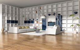 Interior of the library. With sofa, easy chair and shelving royalty free illustration