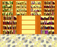 Interior of library with book shelves and mosaic floor Royalty Free Stock Photos