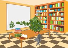 Interior of the library. With Christmas tree Royalty Free Stock Photo
