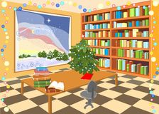Interior of the library. With Christmas tree Royalty Free Stock Photography