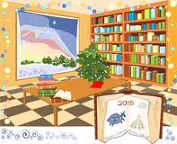 Interior of the library. With Christmas tree Stock Photo
