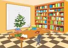 Interior of the library. With Christmas tree Stock Image