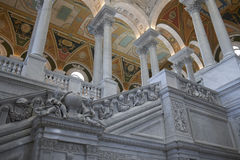 Interior of Library of Congress Washington DC. Interior staircase of the Library of congress in Washington DC. With Ornate ceiling and arches royalty free stock photography
