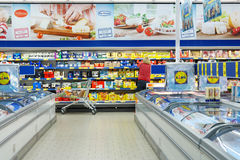 Interior of a Lidl supermarket Royalty Free Stock Photo
