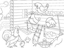 Interior and life of birds in the chicken coop coloring for children cartoon vector illustration Stock Image