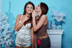 Interior lifestyle portrait of two best friends hipster crazy girls Royalty Free Stock Photo
