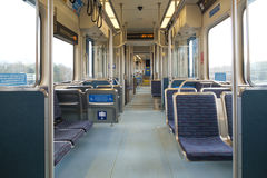 Interior of light rail train car. Seattle, WA, USA Feb 11, 2017: Interior of Sound Transit Link Light Rail train car Stock Photo