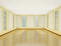 Interior light room in classic style with large windows. 3D. stock illustration