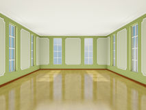 Interior light room in classic style with large windows. 3D. Royalty Free Stock Images