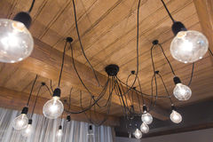 Interior lighting chalet. Interior lighting on chalet in the restaurant stock photo