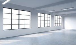 Interior limpio brillante moderno de un espacio abierto del estilo del desván Ventanas enormes y paredes blancas Copie el espacio ilustración del vector