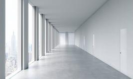 Interior limpio brillante moderno vacío de una oficina del espacio abierto Ventanas panorámicas enormes stock de ilustración
