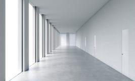 Interior limpo brilhante moderno vazio de um escritório do espaço aberto Janelas panorâmicos enormes com as paredes brancas do es ilustração stock