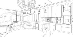 Interior line drawing. Royalty Free Stock Image
