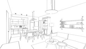 Interior line drawing stock images