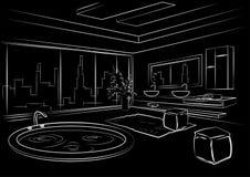 Interior linear arquitetónico do banheiro do esboço no fundo preto Foto de Stock