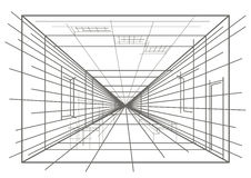 Interior linear do esboço Imagens de Stock Royalty Free