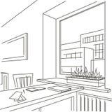 Interior linear do esboço do espaço de trabalho perto da janela Fotografia de Stock