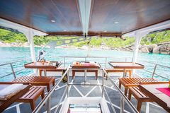 Interior of a living cabin on a liveaboard dive boats. Ship stock photos