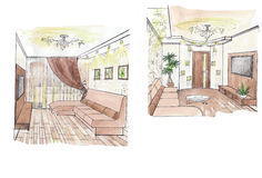 The interior of the living. The classic interior hand drawn sketch interior design Stock Photography