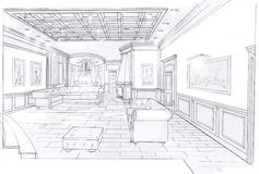 The interior of the living. The classic interior hand drawn sketch interior design Royalty Free Stock Images